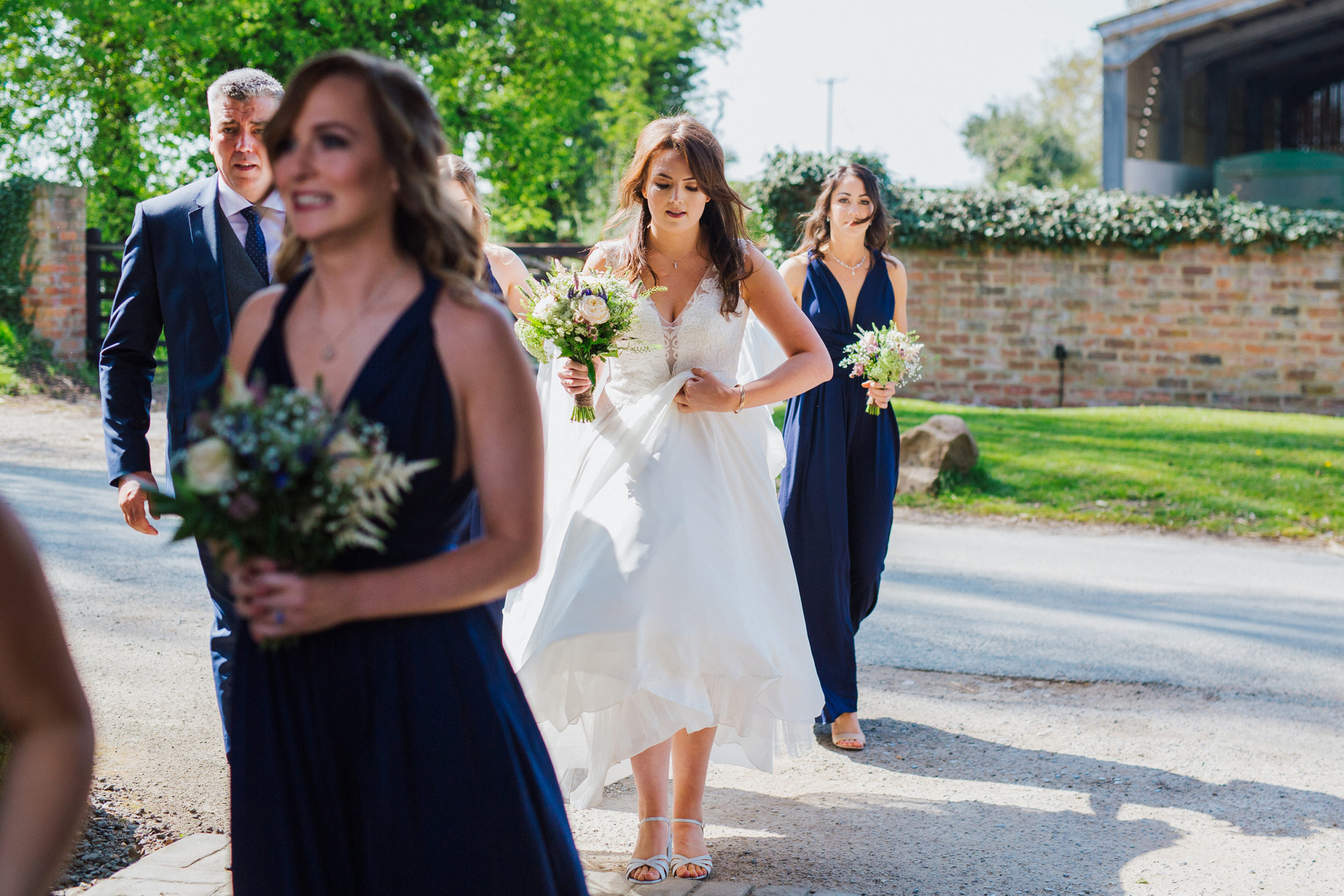 Bridesmaids heading to wedding ceremony at The Normans in York